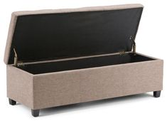 Simpli Home Avalon 48 inch Wide Rectangle Lift Top Storage Ottoman Bench in Upholstered Fawn Brown Linen Look Fabric with Large Storage Space for the Living Room, Entryway, Bedroom, Contemporary Upholstered Storage Bench, Bench Storage, Thing 1, Extra Seating, Engineered Wood, Foot Rest, Storage Spaces, Cool Things To Buy, Family Room