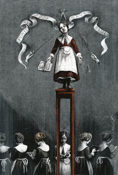 This is the moment that Jane is punished by Mr Brocklehurst in front of the class, demonised to stand over a stool for hours. I saw Jane as a stylite: the stool is turned almost into a column, where she learns the prayers and penance. The concept has been taken from Fra Angelico's fresco The Mocking of Christ: I used his technique to represent the punishments that Lowood Institute gave to their sheltered girls. The bad food, the scourges with the bundle of twigs, the censorship represented…