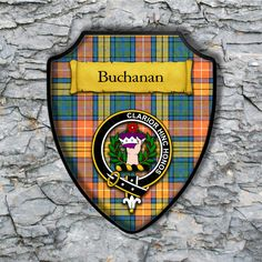 Buchan Plaque with Scottish Clan Badge on Clan Tartan Background by YourCustomStuff on Etsy https://www.etsy.com/listing/262669743/buchan-plaque-with-scottish-clan-badge