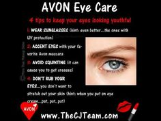️ #Avon Eye Care Skin around your eyes is thinner than the rest of you face, so it's prone to show signs of aging. Want to make sure your eyes keep your age a secret?Starting at $3.99 #EyeCare #AvonEyeCare #FreeShipping #Wrinkles #Age #WhileSuppliesLast #CJTeam #Sale #Anew #C22 #Save Shop Avon Online @ www.TheCJTeam.com