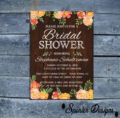 Rustic Bridal Shower Invitation  Water Color by SporterDesigns