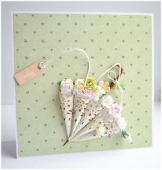 Umbrella card uses a paper doily.... (pin just goes to blog, not original post.... couldn't find it!)