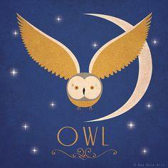 "Owl Print Original Design Animal Alphabet Poster Art Deco Vintage 1940's Childrens Baby Nursery 7x7"" Square Cute Beautiful Retro"