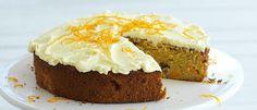 Peach & Walnut Cake with Orange Butter Cream Frosting