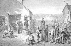 John Wesley doing open air preaching in England.