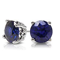 Round Blue Sapphire Stud Earrings with Scroll Setting