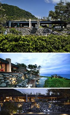 This modern stone, steel, concrete and wood house in Taiwan has been designed for indoor/outdoor living and has three levels, with a rooftop deck, main living and sleeping level and a swimming pool level.
