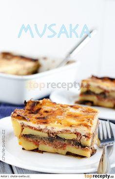Řecká musaka Musaka, Waffles, French Toast, Cooking Recipes, Breakfast, Food, Morning Coffee, Chef Recipes, Essen