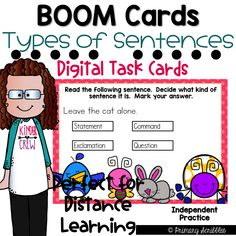 Are you looking for a fun way to practice the skill of learning about different Types of Sentences (Statements, Questions, Exclamations, Commands) in your classroom? This online and interactive activity is perfect for the digital classroom. In this product, you get a link to a website. This activity contains 20 questions relating to the topic of Types of Sentences. Please check out the preview above to view four of the deck cards. Guided Reading Activities, Interactive Activities, 20 Questions, This Or That Questions, Different Types Of Sentences, Task Cards, Digital