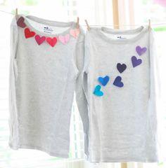 aplique de feltro em formato de corao para camiseta
