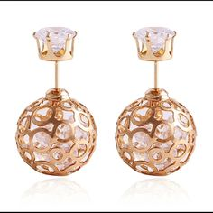 Double Rhinestone Earrings Crystal Gold Stud