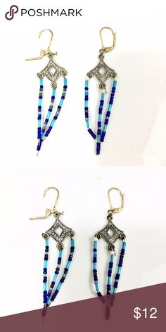 Blue and Crystal Beaded Earrings Long beaded earrings with a crystal in the shape of a diamond. Jewelry Earrings