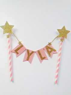 Pink gold glitter name cake topper cust topper by LondonSparkle