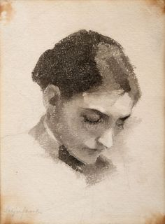 Helene Schjerfbeck, portrait à l'aquarelle