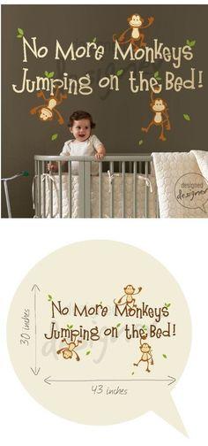 No More Monkeys Jumping Wall Sticker Mural - If it was a boy he'd be my little monkey!