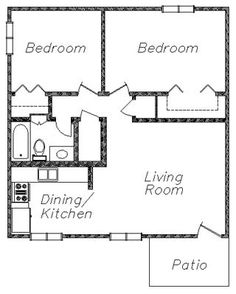 Small house floor plans 2 bedrooms google search my for Cost to build a pool house with bathroom