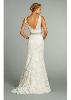 v-neck wedding dresses | Lace V-neck A-line Bridal Gown with Crystal Belt - Wedding Dresses ...
