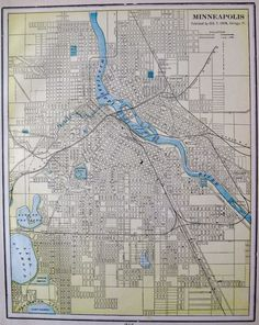 This is an original, not reproduction, antique map of Minneapolis, Minnesota, which was carefully removed from an atlas. ANTIQUE MINNEAPOLIS MAP. | eBay!