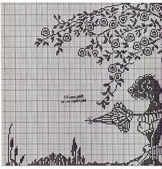 0 point de croix monochrome femme cuillant des fleurs dans un arbre - cross stitch lady picking flowers in a tree part 2