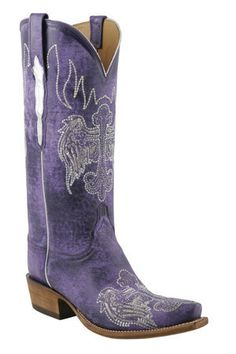 #Lucchese Classics - Style L4689, Women's Cowboy: Ruffle Goat #Boots with Heavenly Wings Stitch Pattern in Destroyed Purple
