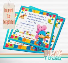 Pocoyó - Invitación para imprimir Fiesta Party, Some Ideas, Holidays And Events, Ideas Para, 3 D, Birthdays, Cards, Party Ideas, Creative Party Ideas