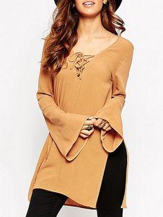Asymmetrical Hems Side Slit Long-sleeve-t-shirts