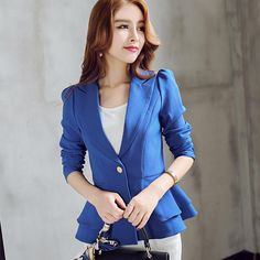 2016 spring xxl women fashion white & black lapel split long sleeve pockets casual blazer cape suit workwear women's blazers > Nice plus size clothing shop for everybody