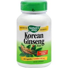 Nature's Way Korean Ginseng Root - 100 Capsules Nature's Way Korean Ginseng Root Description: Korean Ginseng is a traditional Chinese herb for vitality, and is popular among individuals leading an active lifestyle. Guaranteed to contain 2% ginsenosides.   Disclaimer These statements have not been evaluated by the FDA. These products are not intended to diagnose, treat, cure, or prevent any disease. Ingredients : Korean Ginseng Root (1.02g) 0%. Other Ingredients: Gelatin, Magnesium Stearate…