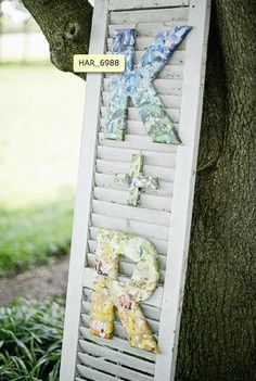 """$50. Wedding Decor: Collaged 12"""" Wood Monogram Letters - Personalized with photos Order on Etsy!"""