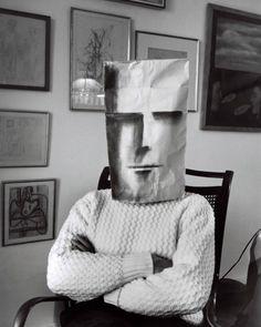 From Inge Morath's Mask Series with Saul Steinberg, 1962.  #ingemorath #saulsteinberg #art #photography