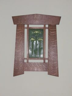 "Craftsman (Mission, Arts & Crafts) style frame made out of Quarter sawn White Oak with a craftsman style ""Queen anne's lace"" tile."