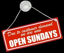 Need some last minute items , we are open Sundays all locations Seabrook,  Exeter,  and Epping  10:00 to 2:00