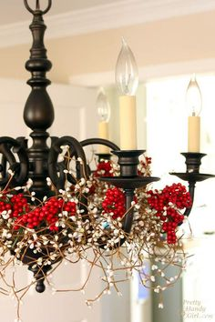 Pretty Handy Girl's Christmas Home Tour. Pinned for the chandelier color. Shape is just like my brassy one…dark bronze spray paint??? Why not!