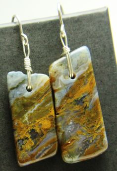 Lacey Agate Dangle Sterling Silver Earrings by AsterStar Jewelry.