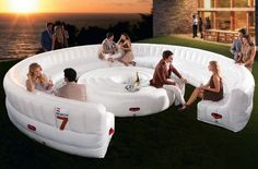 The AirLounge inflatable lounge is your huge spacious party lounge that can seat up to 30 people (!), even with a table. Cool place to talk with your friends and partners over coffee/wine. An AC outlet V) is needed to inflate the giant lounge. Structures Gonflables, Inflatable Furniture, Lounge Party, Bouncy Castle, Pool Toys, Lounge Seating, Lounge Sofa, Lounge Furniture, Camping Furniture