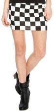 Two Tone Black & White Squares Mini Skirt