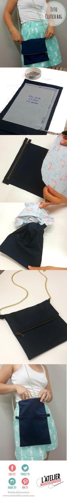 Tuto couture clutch bag - pochette de soirée - Tuto Atelier de la Création