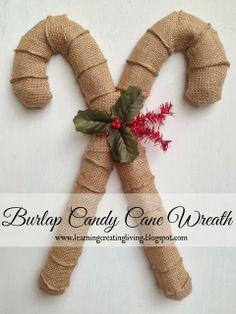 Burlap Candy Cane Wreath