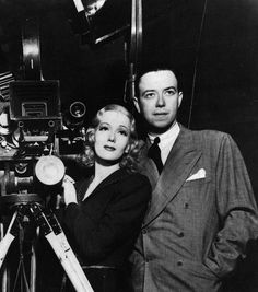 Isa Miranda and director Robert Florey on the set of Hotel Imperial