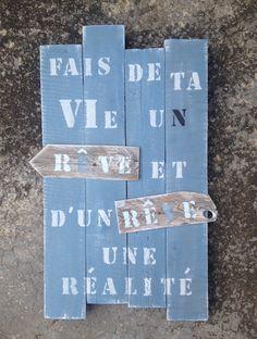 Panneau tableau en bois de palette effet vintage design