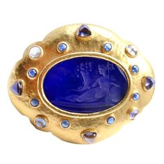 ELIZABETH LOCKE Venetian Glass Intaglio Iolite Yellow Gold Pin Brooch | From a unique collection of vintage brooches at http://www.1stdibs.com/jewelry/brooches/brooches/