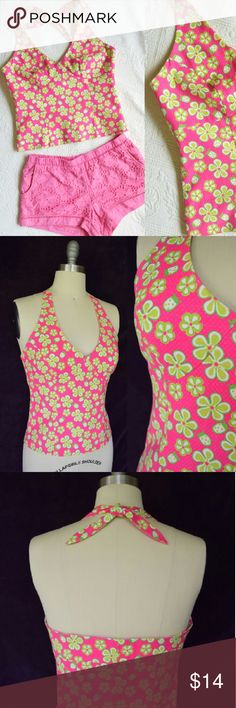 Lilly Pulitzerhot pink daisy halter dress top Listing for top only. Darling vintage 80s Lilly Pulitzer halter top. Hot pink textured pique with a darling Daisy and ladybug print. Halter design with adjustable sash ties at neck. Fully lined with a side zipper. Great preowned condition. No noted flaws. Lilly Pulitzer Tops Tunics
