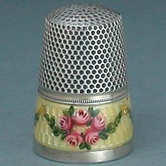 Enameled Sterling Gabler Thimble  - Early to Mid 20th Century   ~ Thimbles