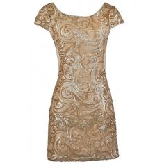 Swirls of Gold Capsleeve Sequin Party Dress ($46) ❤ liked on Polyvore featuring dresses, cocktail party dress, brown cocktail dress, wrap dress, holiday cocktail dresses and cocktail dresses