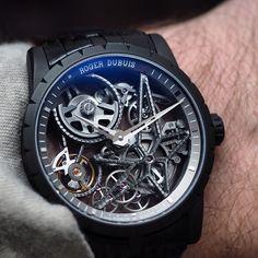 """""""Roger Dubuis Excalibur Automatic Skeleton in black titanium DLC #wristshot"""""""