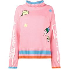 Mira Mikati Long Sleeved Jumper with Patches and Embroidered Arms (2738955 PYG) ❤ liked on Polyvore featuring tops, sweaters, pink top, long sleeve jumper, colorful sweaters, pink jumper and extra long sleeve sweater