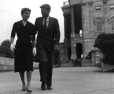 The young Senator and Mrs Kennedy go for a stroll on Capitol Hill.At the time, Kennedy was a young senator from Massachusetts establishing himself as one to watch on the US political scene