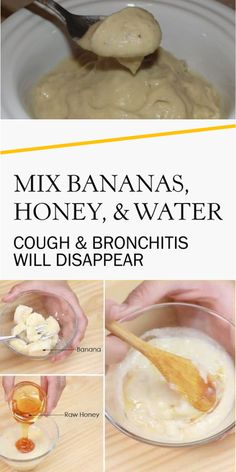 Mix Bananas, Honey, and Water: Cough and Bronchitis Will Disappear Home Remedies For Bronchitis, Cough Remedies For Adults, Natural Remedies For Allergies, Home Remedy For Cough, Natural Headache Remedies, Natural Remedies For Anxiety, Natural Cough Remedies, Cold Home Remedies, Natural Health Remedies