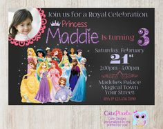 Disney Princess Invitation, Click to see details, Use Coupon Code PIN15 to get 15%off - CutePixels shop  http://etsy.me/1S7ksKd
