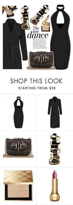 """Black & Gold"" by luvsassyselfie ❤ liked on Polyvore featuring Christian Louboutin, Anja, Giuseppe Zanotti, Burberry, Christian Dior, women's clothing, women's fashion, women, female and woman"